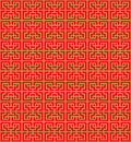 Golden seamless Chinese geometry square line lattice window tracery pattern background. Royalty Free Stock Photo
