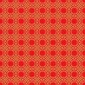 Golden seamless Chinese window tracery lattice polygon round pattern background.
