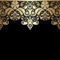 Golden seamless eastern lace pattern on black