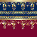 Golden seamless eastern lace pattern on blue and red background Stock Photo