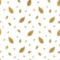 Golden seamless pattern autumn leaves
