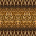 Golden seamless pattern with wavy lines and balls