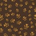 Golden seamless vip only sign background. Vip pattern card design. Luxury member illustration