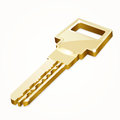 Golden security key on white Stock Photo