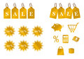 Golden set of sale icons shiny tags Royalty Free Stock Image