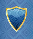 Golden shield blue Stock Photo