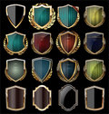 Golden shield collection Royalty Free Stock Photo