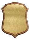 Golden shield diploma in wooden frame isolated on white background Royalty Free Stock Image