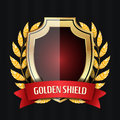 Golden Shield With Laurel Wreath And Red Ribbon. Vector Illustration Royalty Free Stock Photo