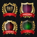 Golden Shield Set With Laurel Wreath And Red Ribbon. Vector Illustration Royalty Free Stock Photo
