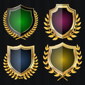 Golden Shield Set With Laurel Wreath. Vector Illustration Royalty Free Stock Photo