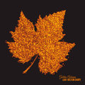 Golden shimmer glowing grape leaf vector abstract bright dots in autumn shape artistic background scatter shine tinsel particles Royalty Free Stock Photos