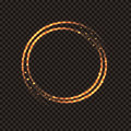 Golden shining magical circle. Fire ring with sparks on a transparent dark background. Royalty Free Stock Photo