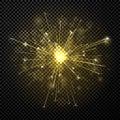 Golden shiny firework or sparkler on transparent background. Royalty Free Stock Photo