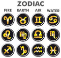 Golden signs of the Zodiac. Royalty Free Stock Photo