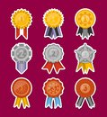 Medals collection with ribbons isolated set Royalty Free Stock Photo
