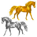 Golden And Silver Horses Statuette Stock Images