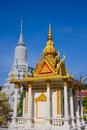 Golden and silver pagoda in palace gold an phnom penh cambodia Royalty Free Stock Images