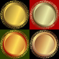 Golden, silvery and bronze plates Royalty Free Stock Photography
