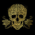 Golden skull. Floral gold pattern Royalty Free Stock Photo