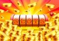 Golden slot machine wins the jackpot.