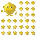 Golden smileys set of round with hands and feet symbolising various human emotions isolated on white background eps contains Royalty Free Stock Photography