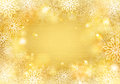 Golden snowflakes background with border Royalty Free Stock Photography