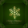 Golden snowflakes on green background christmas snowflake with ornate elements in corners illustration Royalty Free Stock Photo