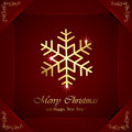 Golden snowflakes on red background christmas snowflake with ornate elements in corners illustration Stock Photos
