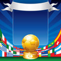 Golden soccer ball and flags Royalty Free Stock Photo