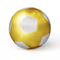 Golden soccer ball isolated football cup prize concept gold on white background Stock Photo