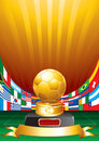 Golden soccer cup Royalty Free Stock Image
