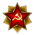 Golden soviet badge - red star sickle and hammer Stock Photo