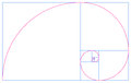 Golden spiral and fibonacci sequence an illustration of the a logarithmic with a growth factor that is the ratio Stock Image