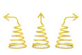 Golden spirals with different direction arrows on white Royalty Free Stock Photo