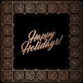 Golden square frame, Happy Holidays card