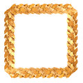 Golden square frame of laurel branches and leaves are the symbol the victories and achievements Royalty Free Stock Photos