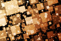 Golden squares abstract background with bokeh effect Stock Images