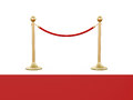 Golden stanchion and red carpet fence with barrier rope isolated on white background Stock Photo