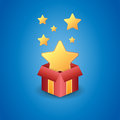 Golden star free gift vector illustration of a magical box showing stars Royalty Free Stock Images