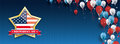 Golden Star Independence Day Balloons Stars Blue Vintage Header Royalty Free Stock Photo