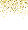 Golden stars falling from the sky on white background. Abstract Background. Royalty Free Stock Photo