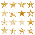 Golden stars set of sixteen christmas start Royalty Free Stock Photos