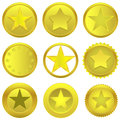 Golden stars vector set on the white background Stock Photography