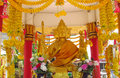 Golden statue in asian temple Royalty Free Stock Photo