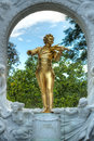 Golden statue of johann strauss world famous in statpark vienna Royalty Free Stock Images