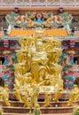 Golden statue of naja god in najasataisue chinese shrine located thepsathit phra kiti chalerm at angsila chonburi Stock Image