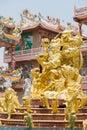 Golden statue of naja god in najasataisue chinese shrine located thepsathit phra kiti chalerm at angsila chonburi Royalty Free Stock Photos