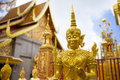 Golden statue in thailand temple of Royalty Free Stock Images