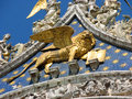 Golden statue of winged lion symbol of the serenissima republic beautiful venice in northern italy Royalty Free Stock Photo